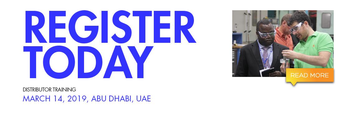 Register Today for distributor training. March 14, 2019, Abu Dhabi, UAE.